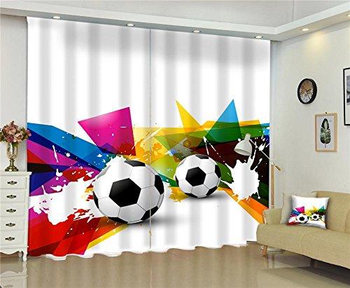 Dbtxwd 3d individualità calcio stampa digitale camera da letto decorazione tonalità blackout riducendo caldo proteggere le tende per finestra di arte , wide 150x high 166 (wide 75x2)