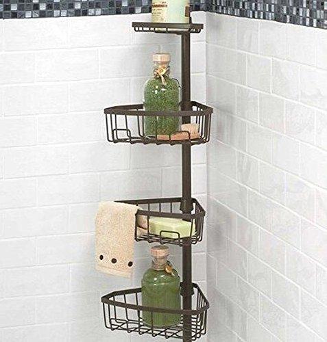 Tension Pole Caddy (Chrom Dusche Badewanne Eckregal Metall Tension Pole Dusche Caddy Badezimmer Seife Organizer)