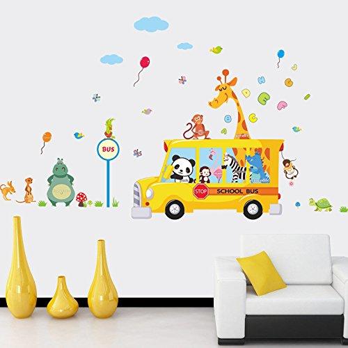 Sticker mural autobus scolaire animaux jungle 110 x 100 cm pour chambre enfant Babyphone GUARDERIAS collège de Open Buy