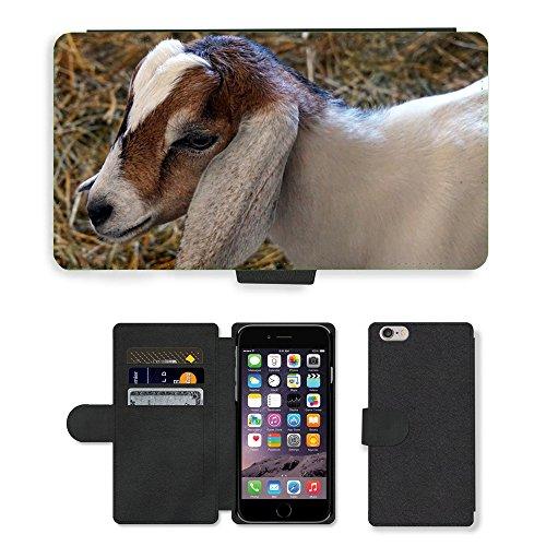 Just Mobile pour Hot Style Téléphone portable étui portefeuille en cuir PU avec fente pour carte//m00139946Nature de Chèvre Pour Bébé Animal Farm//Apple iPhone 6Plus 14cm