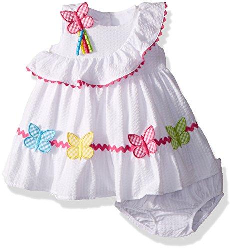 Qualitatives Baby Mädchen Seersucker Schmetterling Sommer-Kleid von Bonnie Baby Gr. 74,80,86,92,98,104 (80) (Bonnie Jean Kleidung)