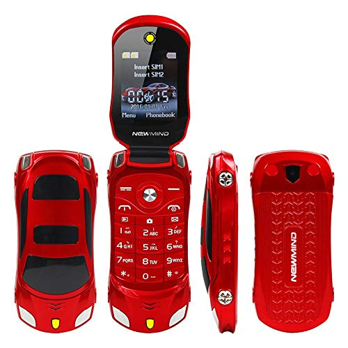 F15 Mini Flip Deportes Coche Estilo Celular Teléfono Móvil Dual SIM MP3/MP4 Mejor para Niños Estudiantes (Rojo)