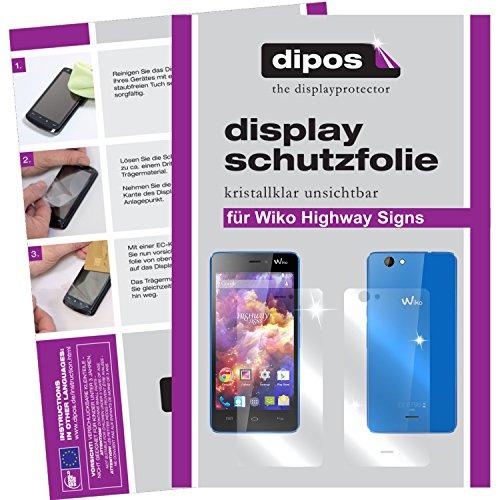 dipos I 6X Schutzfolie klar passend für Wiko Highway Signs Folie Bildschirmschutzfolie (3X Vorder- und 3X Rückseite)