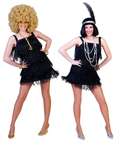 Costume donna charleston nero con frange disco anni 20