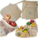 Jungle Nomad Shopper Set Wiederverwendbare Obst- und Gemüsebeutel aus Baumwolle mit stylischer Einkaufstasche...