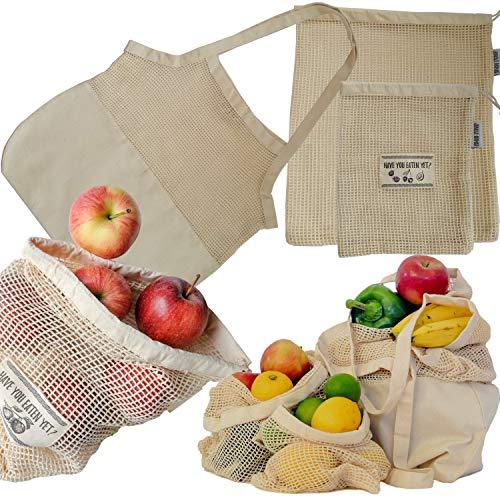 Jungle Nomad® Wiederverwendbare Obst- und Gemüsebeutel aus Baumwolle - Shopping Set mit Einkaufstasche - Plastikfrei einkaufen mit nachhaltigen Gemüsenetzen