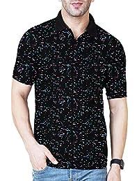 Veirdo Men's Half Sleeve Cotton Polo T-Shirt - Black