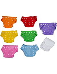 SODIAL(R) 7x Reusable Adjustable Washable Baby Soft Cloth Nappy Diaper One Size +7 Inserts