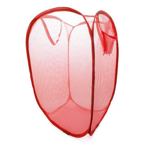 Pieghevole cesto per la biancheria, vestiti cestino/biancheria Rete in Nylon (elastico), portabiancheria colore: rosso-marca Ganzoo