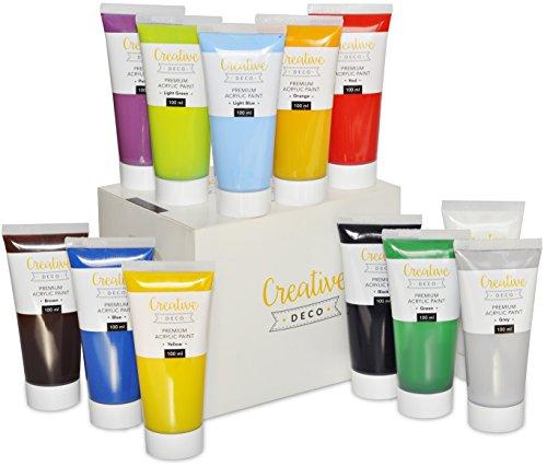 Set di colori acrilici per pittura dipingere xxl – 12 tubetti da 100ml – perfetti per principianti, studenti e artisti professionisti - adatti a legno, tela, carta o tessuto (12 tubi da 100ml)