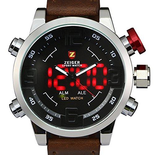 Relojes deportivos digitales para hombres Zeiger Reloj hombres Marron Big Face LED retroiluminación alarma Reloj digital para hombres Reloj digital de cuarzo Moda Hombres Deportes militares W297