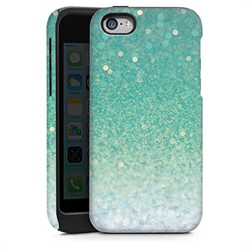 Apple iPhone 4 Housse Étui Silicone Coque Protection Paillettes Vert Bling-bling Cas Tough brillant