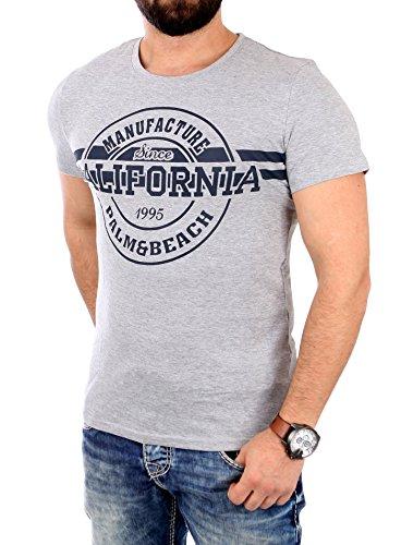 Reslad T-Shirt Herren CALIFORNIA Motiv Print Kurzarm Shirt RS-1954 Grau