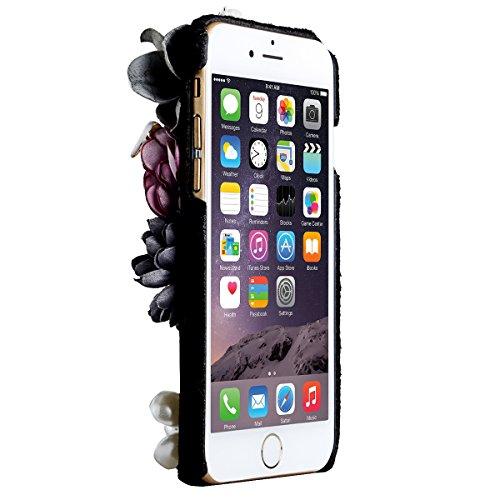 GrandEver iPhone 6 Plus/iPhone 6S Plus Hardcase Hülle Hartschale Pelz PC Rückschale Schutzhülle mit Fell Blume Muster Case Cover Handy Tasche Premium Handyhülle Backcover - Schwarz und Blume Schwarz und Blume