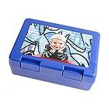 Schilderfeuerwehr Brotzeitbox für Kinder mit Foto Namen selbst Gestalten und Bedrucken Brotbüchse Frühstücksdose Brotbox (Blau)