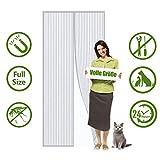 Magnet Fliegengitter Tür, Magnetischer Fliegenvorhang Moskitonetz, Magnetische Adsorption, Faltbar, Auto Schließen Luft kann frei strömen, for Türen/Patio - Weiß 90x210cm(35x82inch)
