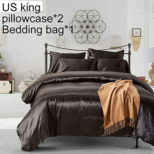 Deykhang Solid Color Twin Queen King Bed Quilt Soft Duvet Cover Pillow Case Comfortable Home Bedding Set White King