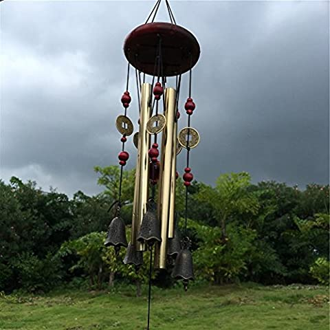 Carillons à Vent Jardin Exterieur Wind Chime Cloches Bronzé Vintage Métal Bois Lucky Cadeau