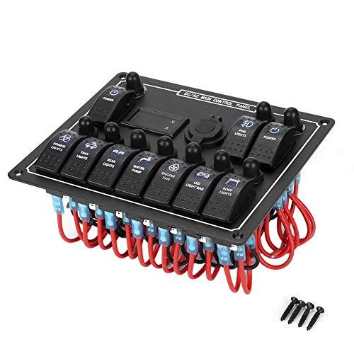 Wippschalterfeld, DC12V / 24 V 10 Gang Wippschalter Kombinationsfeld Leistungsschalter mit USB-Zigarettenanzünderbuchse für RV Car Marine Boat Ac-leistungsschalter-panel
