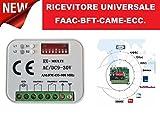 RICEVITORE UNIVERSALE RADIO RICEVENTE 2 canali TELECOMANDI FAAC NICE BFT CAME e tante altre marche frequenza 433 o 868 Mhz 12-30V ac dc codice fisso rolling code AUTOMAZIONE RXMULTI MULTI RX 12-30V