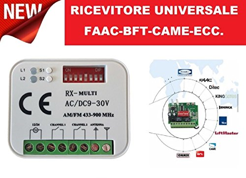 Receiver Universal Radio Empfänger 2 Kanal Handsender FAAC Nice BFT Came und viele andere Marken-433 oder 868 MHz 12 – 30 V AC DC-Code Fixed Rolling Code Automatisierung rxmulti Multi RX 12 – 30 V