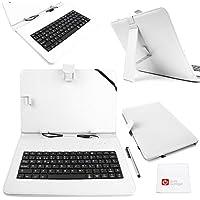 DURAGADGET Funda/Teclado QWERTY ESPAÑOL Blanco Para Asus ZenPad 10 (Z3000CG) - Con Letra Ñ - Conexión MicroUSB + Lápiz Stylus