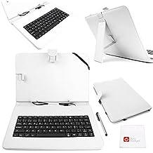 DURAGADGET Funda / Teclado QWERTY ESPAÑOL Blanco Para Asus ZenPad 10 (Z3000CG) - Con Letra Ñ - Conexión MicroUSB + Lápiz Stylus