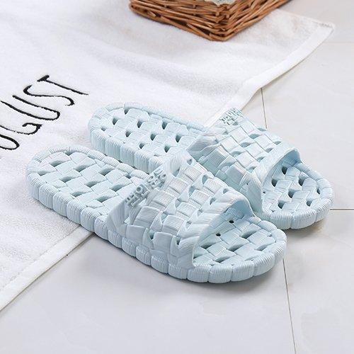 fankou Pantofole da bagno casa estiva scarpe antiscivolo fondo morbido bagni a strisce a righe da uomo e ciabatte da donna, 35-36, blu chiaro a vista azzurro