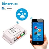 #1: amiciKart® Sonoff Wifi Switch 4CH 4-Gang 4-Way Din Rail Mounting on/off Wifi Remote Control Wireless Switch For Smart Home 10A/2200W