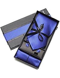 Coffret Cravate, Mouchoir de Poche, Boutons de Manchette Bleu, 100% Soie - Oxford Collection -