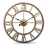 """Horloge murale vintage,47cm (18.5""""), ferronnerie 3D faite à la main dans une horloge européenne à quartz de style vintage, grande horloge murale silencieuse sans sons de tiques (Or)..."""