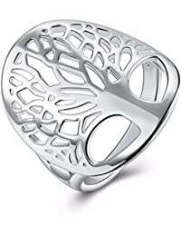 SailvanIn Women Silver Tree Ring Hollow Ring For Women Life Tree Rings Women Wedding Rings Vintage Life Ring