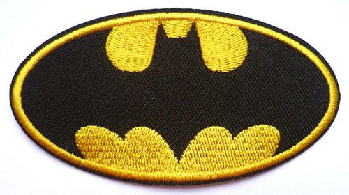 Image of Embroidered Batman Badge Iron or Sew On Fancy Dress 9.5 cm
