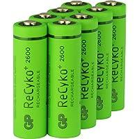 GP Akku Batterien AA / Mignon, NiMH, wiederaufladbar, 1,2 Volt (1,2V), Hi-Power Kapazität 2600mAh, ReCyko+ LSD Technologie, Ready-to-Use - Akkus bereits vorgeladen (8 Stück GP Akkubatterien)
