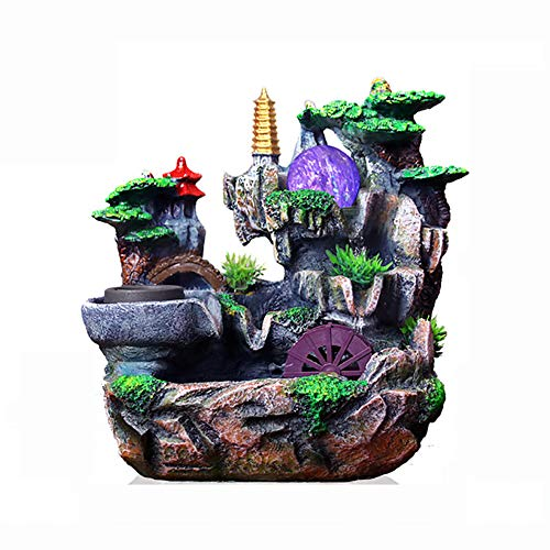 SFXYJ Innenwasserbrunnen Feng Shui Ornamente, Harz Wasserfall für Wohnkultur mit LED-Farblichtern, Kristallkugel (Lassen Sie Sich Glück bringen),A