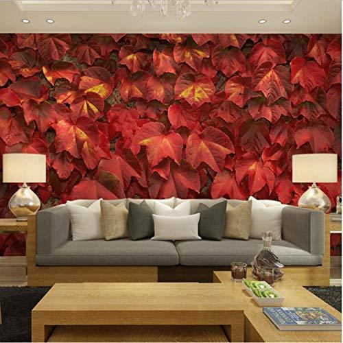 Hyllbb Red Ivy Leaf Natur Fototapeten Wandhauptdekor Carta Da Parati 3D Wohnzimmer Schlafzimmer Selbstklebende Vinyl/Seide Tapete-280Cmx200Cm Ivy Vintage Tapete