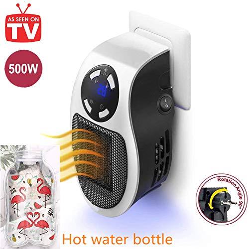 Mini Heizlüfter 500W Elektrische Heizung Steckdose Heizgerät mit Timer Warmluftgebläse Heater für Zuhause Badezimmer und Büro (White,500W)