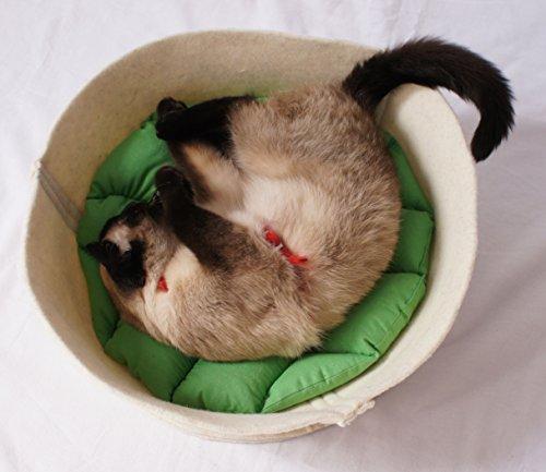 Naturfilz Katzenkorb Katzenbett aus reiner Wolle inkl. Kissen (grün)