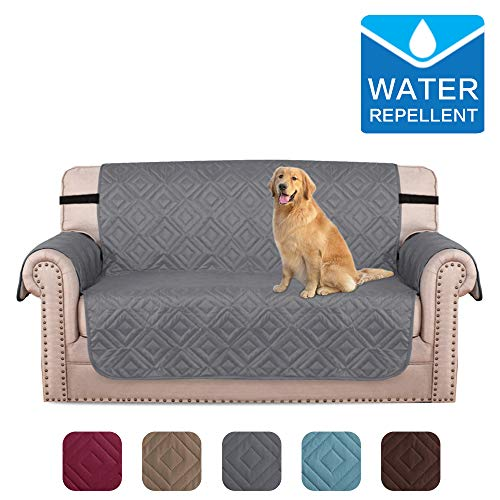 """Sofa Cover Water Repellent Loveseat Slipcovers for Dog/Cat Plush Furniture Cover with Elastic Straps, Protect from Pets, Spills, Wear and Tear (Two Seater: 46"""" x 71.5"""")"""