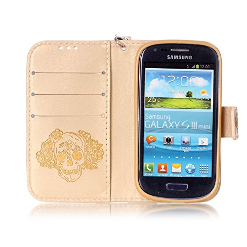Galaxy S3 Mini Coque Rabat,Housse Galaxy S3 Mini Bling Bling,Ekakashop Jolie Brun Dreamcatcher Strass étoiles Paillettes Brillant Design Bookstyle Portefeuille à Fermeture Wallet Shell de Protection é D'or Crâne
