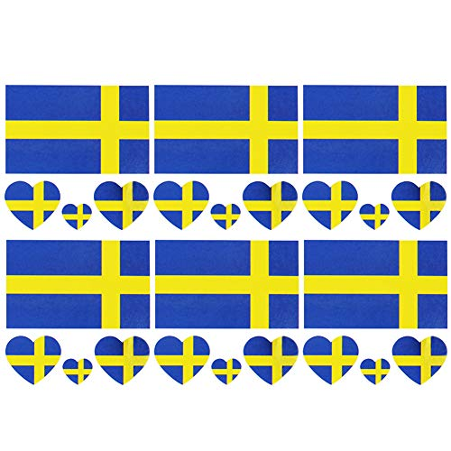 (Naisicatar Schweden Flagge Tattoos Sticker wasserdicht temporäre Tattoos Sweatproof Gesichts-Körper-Dekor-Aufkleber Partydekoration 6pcs / set nützlich und schön)