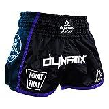 Dynamix Athletics Pantaloncini Muay Thai Warpath Blu Navy - Shorts tailandesi di Alta qualità per Boxe tailandesi Pantaloni Tradizionali da thaibox per Uomo con Materiale Air-Tech (L)