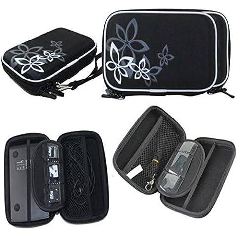 ELEGIANT Abrasión de disco duro portátil Drive Cremallera cubierta del bolso de la caja a prueba de golpes resistente a los arañazos Resistente flor 2.5 ''HDD Bolsa negro