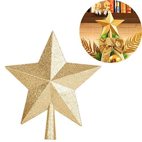Milopon Weihnachtsbaum Stern Weihnachtsstern Weihnachtsbaumspitze Baumspitze Spitze Stern Baumschmuck Weihnachtsbaum gold size 15x15cm -