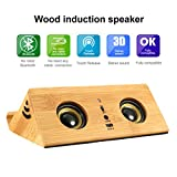 Wireless Induktion Lautsprecher, EIVOTOR Mini Holz Kabellose NFC Lautsprecher Magic Tragbare Speaker Drahtlos Magische Lautsprecher Handy Halterung Stereo Bass mit 2 x 3W Lautsprecher 3,5mm Audio für MP3 Player Laptop Desktop PC und Mikrofon Freisprechfunktion für Smartphones iPad iPhone Samsung Galaxy Lenovo Tab Tablets PC und andere mobile Geräte