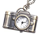 81stgeneration Bronze style vintage montre de poche de l'appareil photo pendentif médaillon de quartz long collier