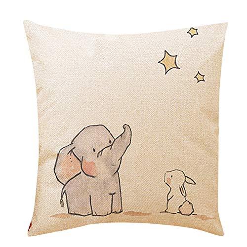 Dekorative Nackenrolle Kissen (OYSOHE Netter kleiner Elefant dekorative Kissen Bezüge Sofakissen Leinen Zuhause Kissenbezug(G,Einheitsgröße)
