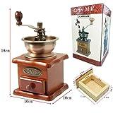 JJPRIME - Mini granos de café de madera Compacto Especias Condimentos Classic estilo Vintage Manual Molinillo cajón