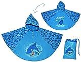 Unbekannt Regenponcho / Regencape - Hai Fisch - Gr. 104 - 110 - 116 - 122 - 128 - circa 3 bis 6 Jahre - für Kinder - Jungen Mädchen Fische Tiere Fahrrad / Regen Poncho ..