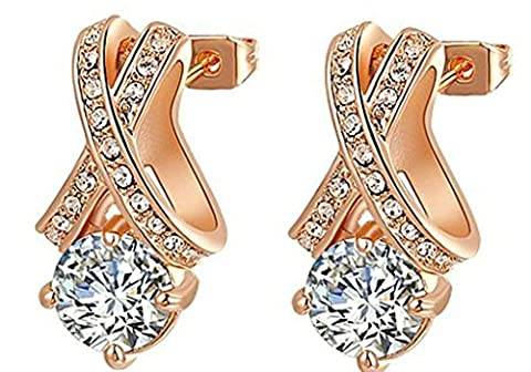 AMDXD Jewelry Gold Plated Women Stud Earrings Rose Gold Austrian Crystal CZ Plated Cross